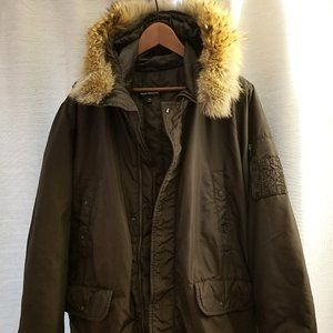 Club Monaco Fur Collar Hooded Long Coat